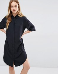 Native Youth Cupro Shirt Dress Black