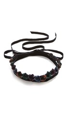 Rendor And Steel Floral Double Wrap Necklace Black