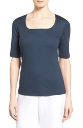 Women's Lafayette 148 New York Swiss Cotton Rib Square Neck Tee Bateau Blue