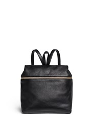 Kara Pebbled Leather Backpack Black