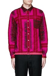 Sacai Grid Check Quilted Flannel Shirt Jacket Red
