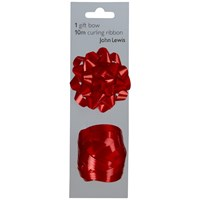 John Lewis Gift Bow And Curling Ribbon Set Red