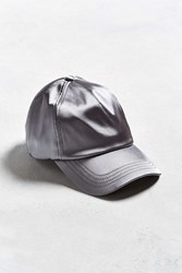 Urban Outfitters Uo Satin Baseball Hat Silver