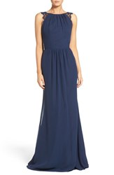 Hayley Paige Occasions Women's Lace Strap Gathered Chiffon Gown Navy Indigo
