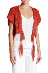 Free People Tassels Away Shrug Red