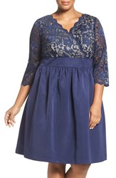 Eliza J Plus Size Women's Lace And Faille Dress Navy