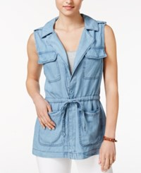 Sanctuary Denim Cargo Vest Sunbleached Blue