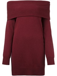 Alexander Wang T By Off Shoulder Knit Dress Pink Purple