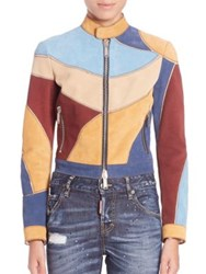 Dsquared Lilo Colorblock Leather Jacket Multi