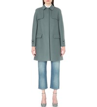 Valentino Single Breasted Wool Blend Trench Coat Blue