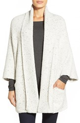 Women's White Warren Shawl Collar Poncho Style Cardigan Bone Earl Grey