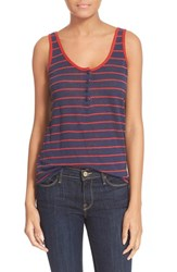 Women's Frame 'Le Nautical' Henley Linen Tank Navy Grounded Red Stripe