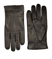 Boss Grained Leather Gloves Unisex Black