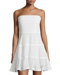 See By Chloe Strapless Eyelet Fit And Flare Dress White