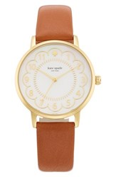 Women's Kate Spade New York 'Metro' Scalloped Dial Leather Strap Watch 34Mm Luggage Brown Gold