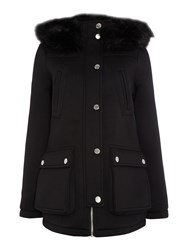 Lipsy Scuba Parka Coat With A Fur Hood Black