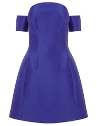 Carven Cobalt Satin Off The Shoulder Dress Blue