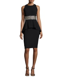 Carmen Marc Valvo Sleeveless Beaded Waist Peplum Cocktail Dress