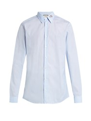 Gucci Snake Collar Pinstriped Button Cuff Shirt Blue