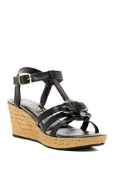 Italian Shoemakers Strappy Floral Wedge Sandal Black