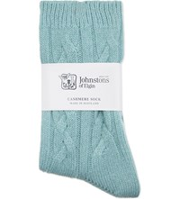 Johnstons Cable Knit Cashmere Socks Iona