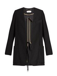 Chloe Collarless Crepe Blazer Black
