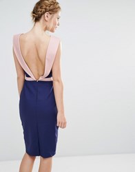 Paper Dolls Tuxedo Back Detail Midi Dress Navy Nude