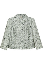 Tory Burch Eloisa Printed Silk Twill Jacket Green