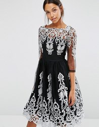 Chi Chi London Premium Lace Midi Dress With Scalloped Back And 3 4 Sleeve Black Silver