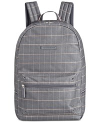 Tommy Hilfiger Men's Alexander Coated Cotton Plaid Backpack Blue Multi