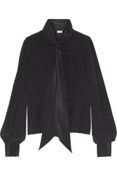 Talitha Pussy Bow Silk Crepe Blouse Black