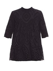 Zimmermann Harlequin Broderie Anglaise Top Navy