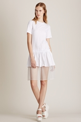 Steve J And Yoni P Frill Jersey Tee Dress White
