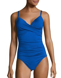 Calvin Klein Twist One Piece Swimsuit Blue