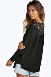 Boohoo Crochet Trim Long Sleeve Swing Blouse Black