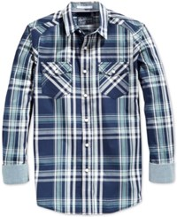 American Rag Men's Walsh Plaid Long Sleeve Shirt Only At Macy's Bristol Blue