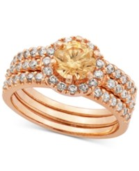 Macy's Champagne And Clear Cubic Zirconia Stack Look Halo Ring In 18K Rose Gold Plated Sterling Silver