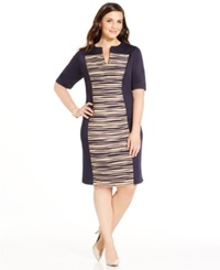 Connected Plus Size Textured Panel Shift Dress