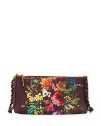 Elliott Lucca Floral Faux Leather Clutch Bag Bk Ch Autb