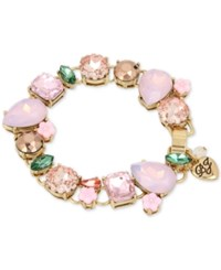 Betsey Johnson Gold Tone Pink Stone And Crystal Stretch Bracelet Multi