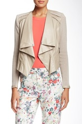 Insight Faux Leather Mixed Media Jacket Beige