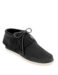Minnetonka Venice Black Suede Moccasin Booties