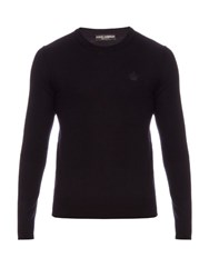 Dolce And Gabbana Crew Neck Wool Sweater Navy