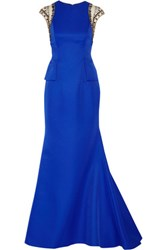 Mikael Aghal Embellished Tulle Trimmed Ponte Gown Royal Blue