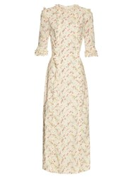 The Vampire's Wife Cate Cotton Midi Dress Cream Print