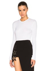 Anthony Vaccarello Rib Knit Sweater In White