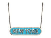 Marc Jacobs Charms Paradise New York Nameplate Pendant Necklace Turquoise Necklace Blue