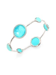Ippolita Stella Turquoise Clear Quartz Diamond And Sterling Silver Doublet Bangle Bracelet Silver Turquosie