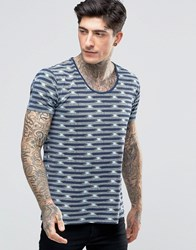 Scotch And Soda T Shirt With Scoop Neck In With Geometric Stripe In Stretch Slim Fit In Navy Mint Navy Mint