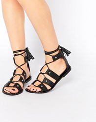Park Lane Gladiator Leather Flat Sandals Black